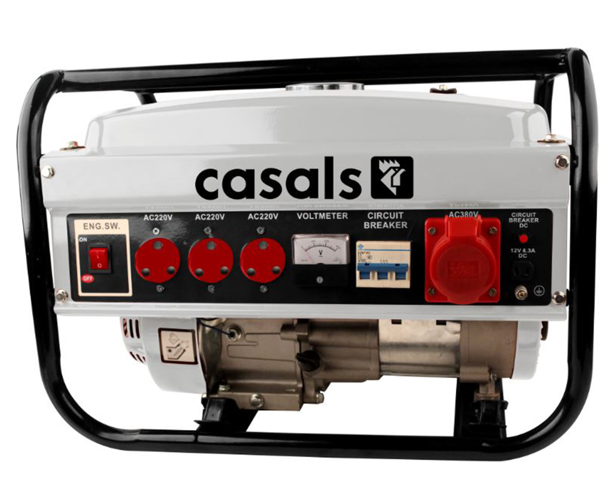 Casals Generator Recoil Start Steel Grey 3 Phase 4 Stroke 2500w Circuit Breaker Dc